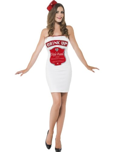 Smiffy's Women's Drink Up Costume & with Printed Dress and Hat, White -