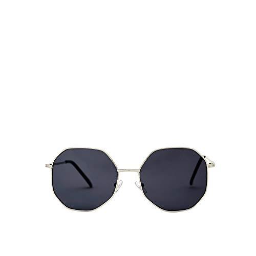 SOLFUL RIDDLER Vintage Unisex Hexagonal Metal Frame Sunglasses. 100% UV Protection For Men/Women, Silver Frame (Black Lense) (Nickel Silver Sunglass)