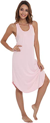 (NEIWAI Women's Sleep Dress Long Bamboo Viscose Nightgowns Sleepwear Pink XL)
