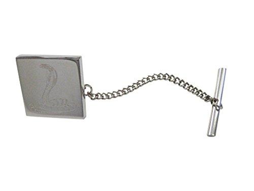 Cobra Tie - Silver Toned Etched Cobra Snake Tie Tack