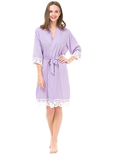 Mr & Mrs Right Women's Cotton Kimono Robe for Bride and Bridesmaid with Lace Trim Darkgray