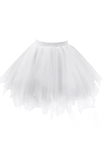 emondora Women's Tutu Tulle Petticoat Ballet Bubble Skirts Short Prom Dress Up White Size XXL-XXXL
