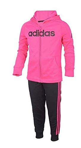 adidas Baby Girls' Hooded Tricot Zip Jacket and Pant Set (Neon Pink/Black/Pink, 3T)
