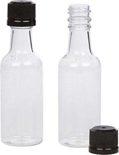 (12) Mini Liquor Bottles 50ml Black mini empty plastic Alcohol shot bottles (Black)