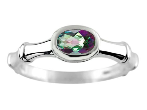 (Finejewelers 6x4mm Solitaire Oval Mystic Topaz Bamboo Ring Sterling Silver Size)