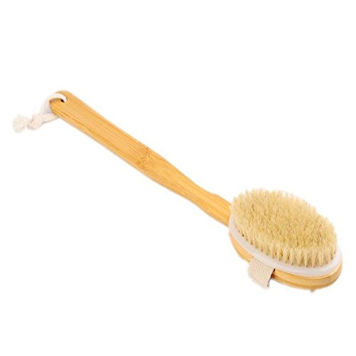 Removable Long Handle Bristles Body Brush Massager Bath Back Spa Scrubber