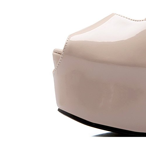 AllhqFashion Women's High-Heels Patent Leather Two-toned Buckle Peep Toe Sandals apricot xhpQz
