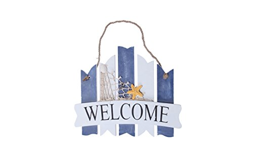 Juvale Welcome Sign Board - Home Inside Outside Decoration Beach Greeting Ocean Sea Net Star Fish 10