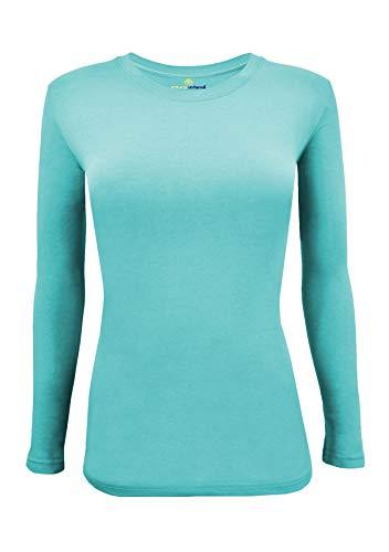 Natural Uniforms Women's Under Scrub Tee Crew Neck Long Sleeve T-Shirt (Aqua Blue, - Aqua Scrub Body