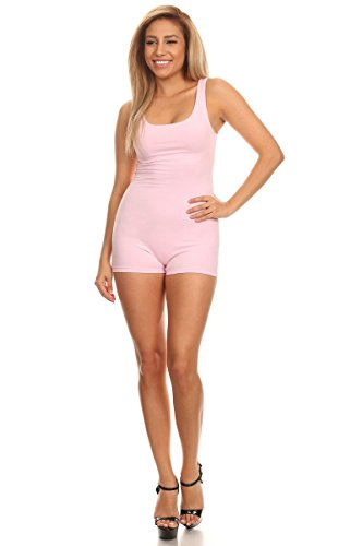 Women's Sleeveless Stretch Cotton Jersey Sexy slim Fit Basic Shorts Bodysuits Pink - Shorts All One In