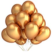 BM AVESTA - Pack of 15-12  Metallic Gold Latex Balloons For Birthday, Baby Shower, Wedding, Ceremony and Parties Decorations, 6 Solid Colors, Blue, Pink, Red, Black, Gold, Yellow, Premium Quality