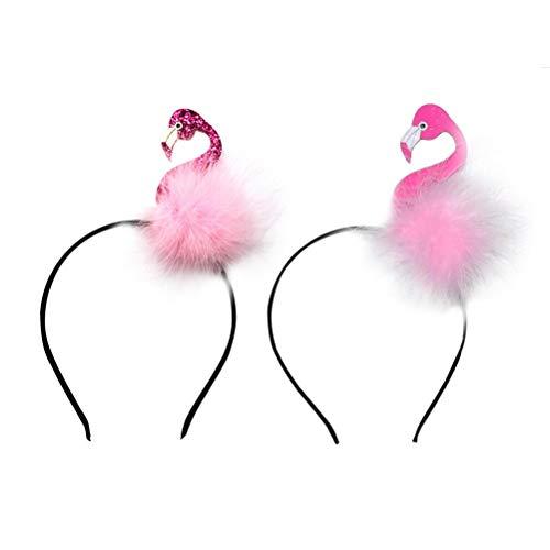 Amosfun Flamingo Headband Hawaii Animal Hair Hoop
