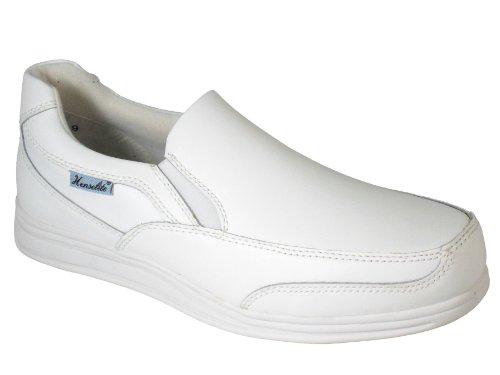 Men's Henselite Victory Sport Slip on Leather Lawn Bowls Shoes Sizes 7 to 13 in White and Grey White