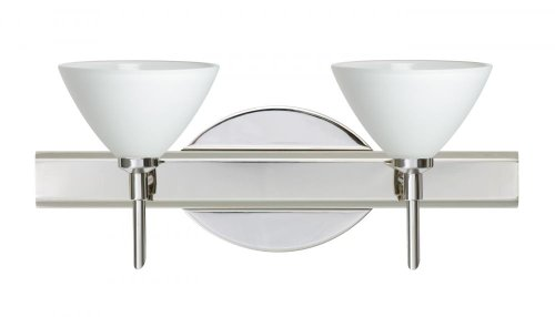 Besa Lighting 2SW-174307-CR 2X40W G9 Domi Wall Sconce with White Glass, Chrome Finish