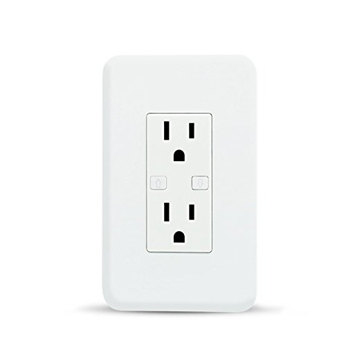 Smart WiFi Wall Outlet Plug, WiFi Wall Socket Duplex Receptacle, 15 Amp with 2 Independent control, Compatible with Amazon Alexa and Google Assistant, No Hub Required, Remote Control, ETL Listed