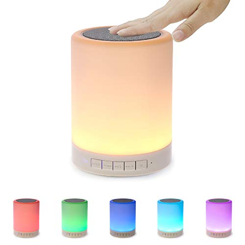 - Night Light Bluetooth Speaker, Portable Wireless Bluetooth Speakers, Touch Control, Color LED Speaker, Bedside Table Light, Speakerphone/TF Card/AUX-in Supported (White), SHAVA 7