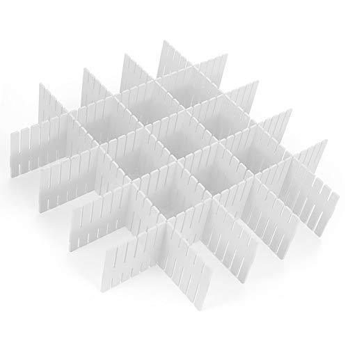 Rommeka Drawer Dividers, 8pcs DIY Plastic Grid Dresser Desk Drawer Organizer for Home Kitchen Office Stationary Closet Socks Underwear Scarves Makeup Utensil Household Storage -