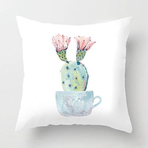 Aremazing Watercolor Succulent Cactus Decorative Super Soft Throw Pillow Covers Creative Teacup Bonsai Throw Waist Pillow Case Cushion Cover Protector 18x18 Inch Square Outdoor Decor (Bonsai - Cactus)