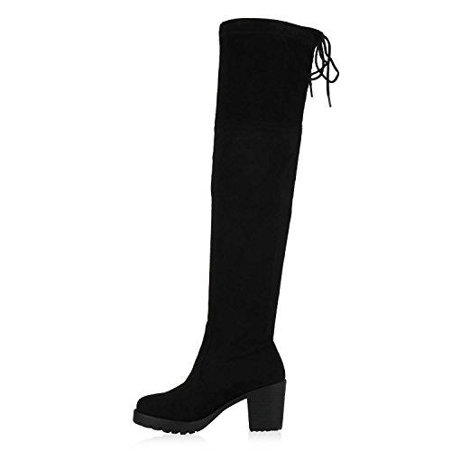 Flandell Schwarz Damen Profilsohle Overknees Stiefel Schwarz mit Stiefelparadies Blockabsatz pAT6qvw
