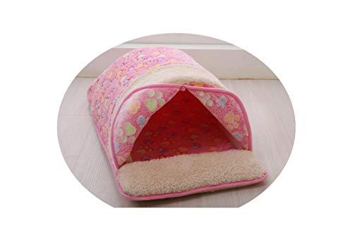 FanRen Petmin Autumn Winter Dog paw Print Small Dog House Pet Bed Sofas Warm Teddy Dog Mats Soft Dog Kennel Cat Sleeping Bag,Pink,50x32x23cm