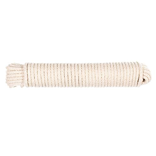 Scottie Cord - Natural Scottie Cotton Braided Clothes Line Rope - (7/32 Inch) - Cotton Rope Clothesline - All Purpose Laundry Line Dryer Rope (50 Feet)