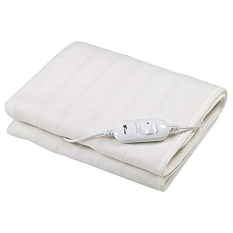 Manta eléctrica en color blanco, dimensiones :150x80cm lavable. 2 ajustes de temperatura.