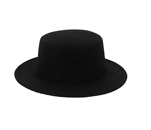 ASTRQLE Fashion Classic Black Wool Blend Fedora Hat Brim Flat Church Derby ()
