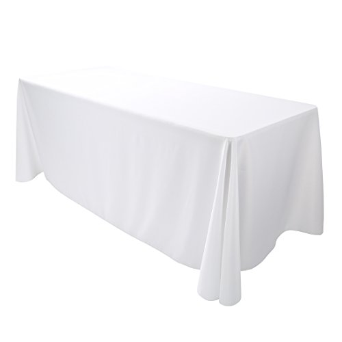 E-TEX 90x132-Inch Polyester Oblong Tablecloth Fit for 6Ft. Rectangular Table White