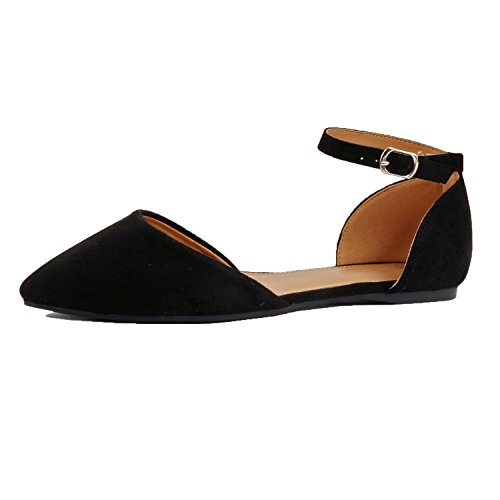 Closed Heart - Guilty Heart | Women's Slip On Comfortable Pointy Closed Toe Shoe | Ankle Strap Dorsay Ballet Flat (9 B(M) US, Blackv2 Suede)