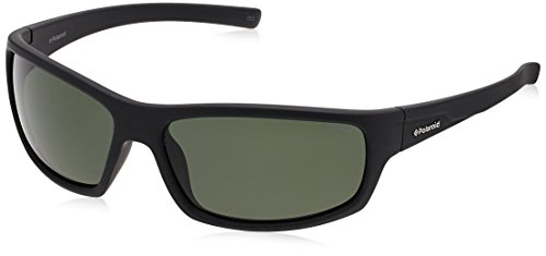 Polaroid Sunglasses Men's P8411s P8411S Polarized Rectangular Sunglasses, BLACK RUBBER/GREEN POLARIZED, 63 - Sunglass Polaroid