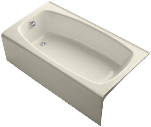 Kohler K-519-47 Dynametric 5Ft Bath with Left-Hand Drain, Almond (Dynametric 5' Bath Drain)