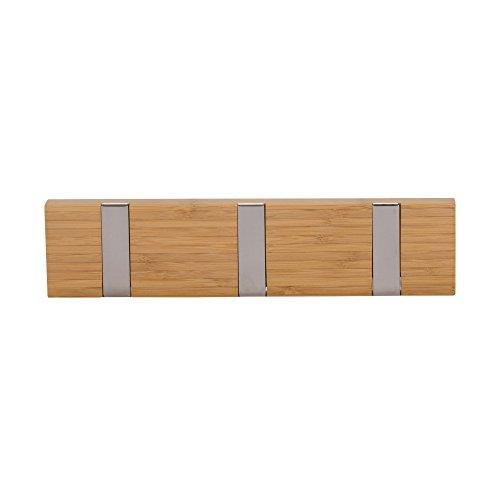 Household Essentials Bamboo 3-Hook Wall Coat-Hat Rack, (Three Hook Coat Rack)