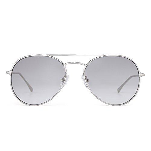 Clear Aviator Sunglasses Classic Flat Tinted Lens Metal Eyeglasses Men Women (Silver / Gradient - Tinted Grey Sunglasses
