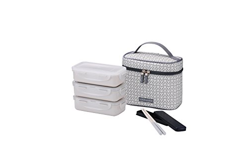 LocknLock Clover Combo Lunch Box Set with Bag & Chopsticks (Ivory)