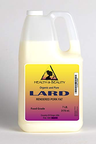 Traditional Pork - Lard Organic Rendered Pork Fat Grass Fed Traditional Food Cooking Oil All Natural 100% Pure 128 oz, 7 LB, 1 gal
