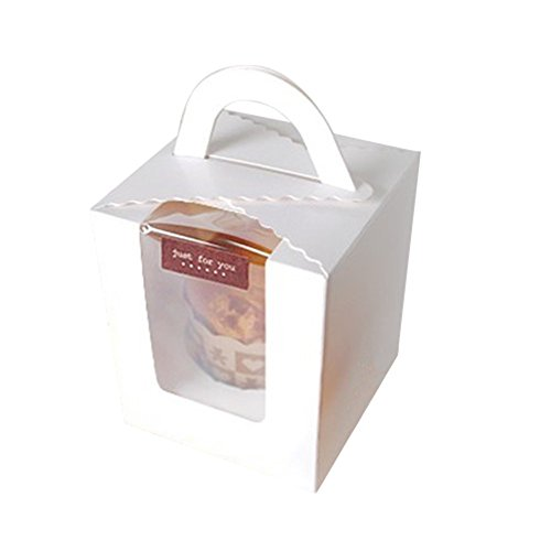 Price comparison product image Whthteey 12 PCS Single Cupcake Box Square Foldable with Handle Clear Window Packaging Cake Case (White)