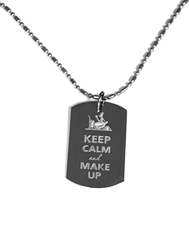 Keep Calm and Make Up- Luggage Metal Chain Necklace Military Dog ()