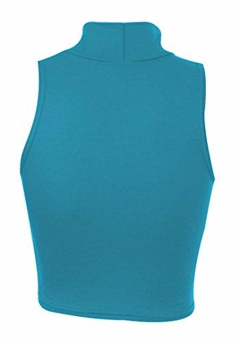 Da donna Tinta unita Senza maniche Polo Collo Elasticizzato Top blu Medium