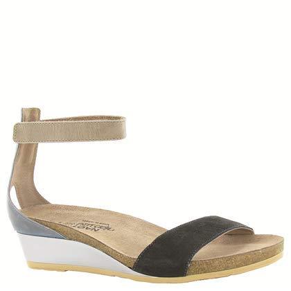 NAOT Footwear Women's Pixie Wedge Sandal Black Suede/Vintage Slate Lthr Combo 5 M US