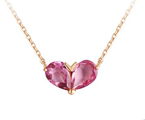 Epinki 18K Gold Necklace for Women Girls Natural Gemstone Green/Pink Tourmaline Heart Necklace Pink-40CM by Epinki