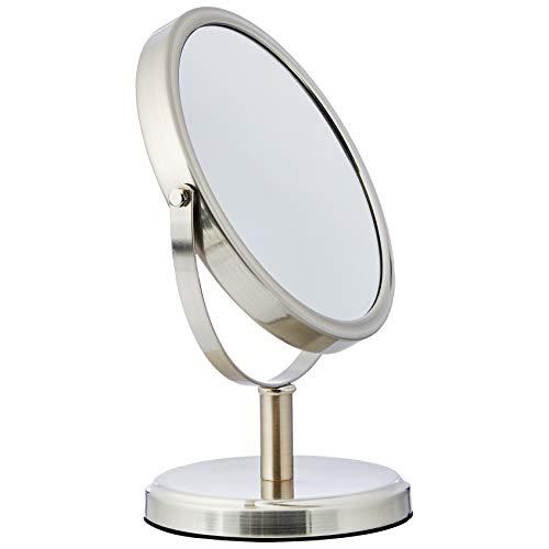 AmazonBasics Modern Dual Sided Magnification Makeup Vanity Mirror, Standard, Nickel]()