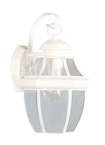 Beveled Light Wall (Livex Lighting 2151-03 Monterey 1 Light Outdoor White Finish Solid Brass Wall Lantern with Clear Beveled Glass)