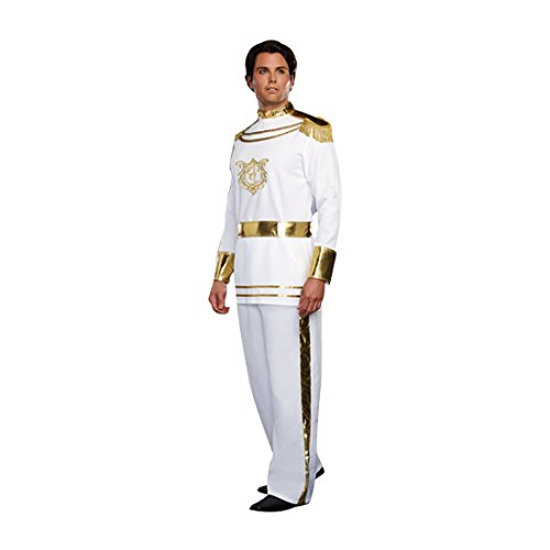 Dreamgirl Men's Fairytale Prince Costume, White, Medium