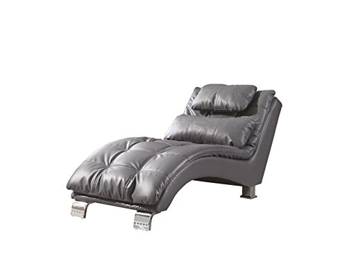 Coaster Home Furnishings Dilleston  Pillow Top Chaise - Grey Faux Leather