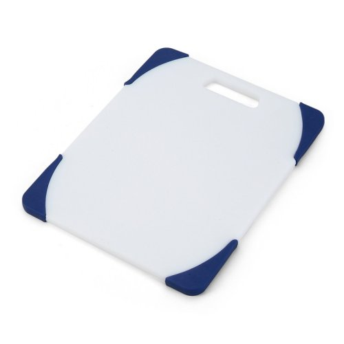 Farberware 8-by-10-Inch Poly Cutting Board with Blue Non-Slip Corners 78907BL