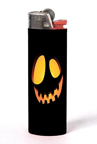 (Scary Spooky Halloween Pumpkin Face 2 Pack Vinyl Decal Wrap Skin Stickers for Bic Lighters by Moonlight)