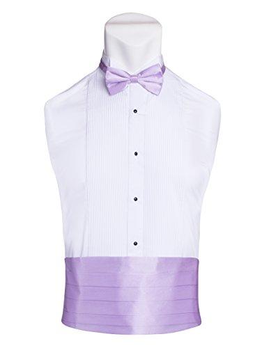 Cummerbund Lilac (Men's Premium Cummerbund & Bow Tie Set 100% Silk Cummerbund & Bowtie For Tuxedos & Suits - Many Colors (Lilac-Lavender))