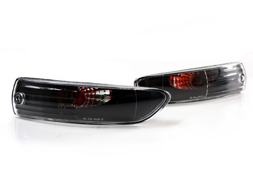 03-05 Mitsubishi Eclipse Front Bumper Turn Signal Lights - Black/Clear (2003 2004 2005)