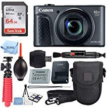 Canon PowerShot SX730 HS Digital Camera (Black) + 64GB Memory Card + Point & Shoot Case + Flexible Tripod + USB Card Reader + Lens Cleaning Pen + Cleaning Kit + Accessory Bundle by Canon