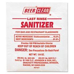 ** Beer Clean Last Rinse Glass Sanitizer, Powder, .25oz Packet, 100/Carton